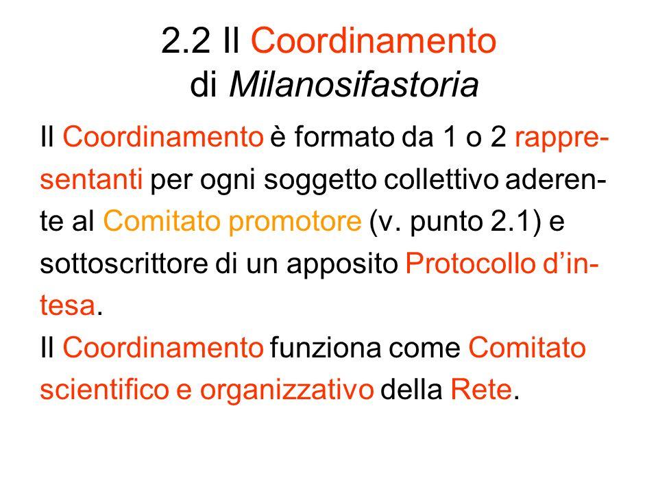 2.2 Il Coordinamento di Milanosifastoria Il Coordinamento è formato da 1 o 2 rappre- sentanti per ogni soggetto collettivo aderen- te al Comitato prom