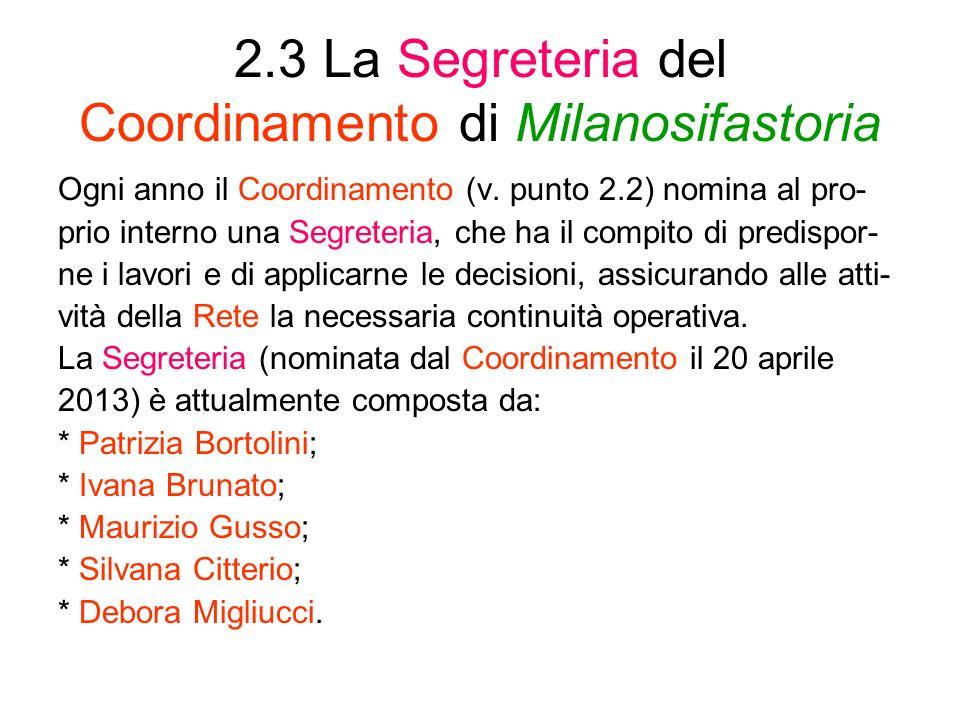 2.3 La Segreteria del Coordinamento di Milanosifastoria Ogni anno il Coordinamento (v. punto 2.2) nomina al pro- prio interno una Segreteria, che ha i