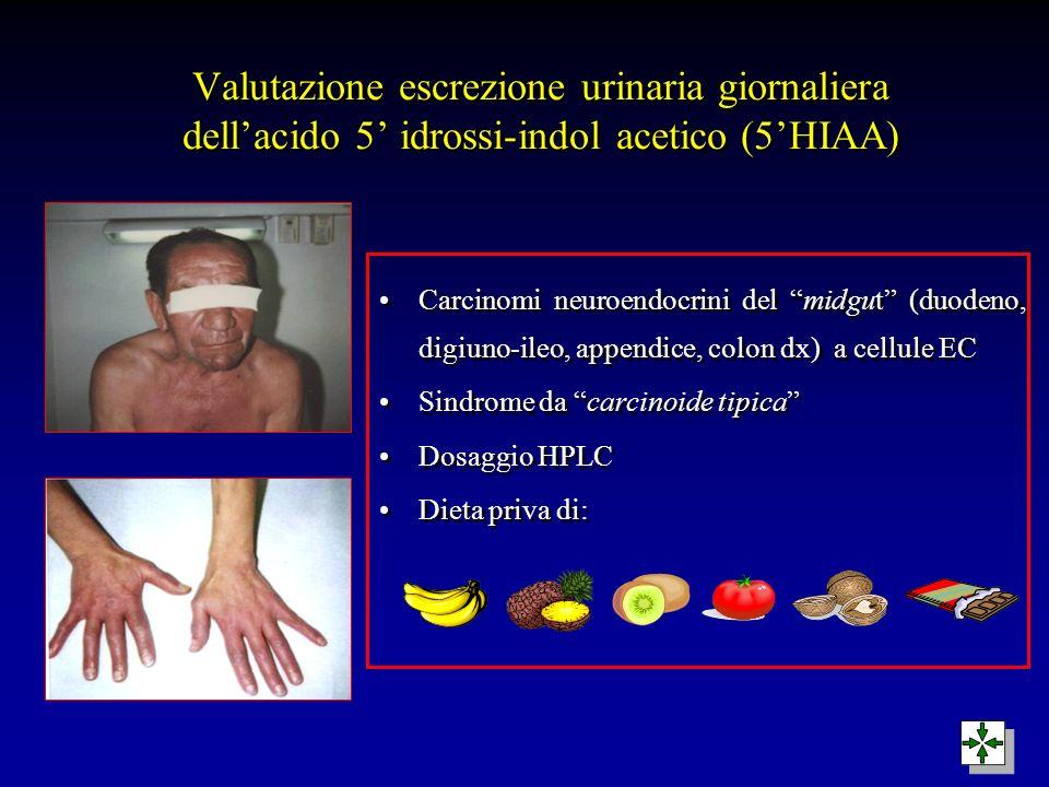 Valutazione escrezione urinaria giornaliera dellacido 5 idrossi-indol acetico (5HIAA) Carcinomi neuroendocrini del midgut (duodeno, digiuno-ileo, appe