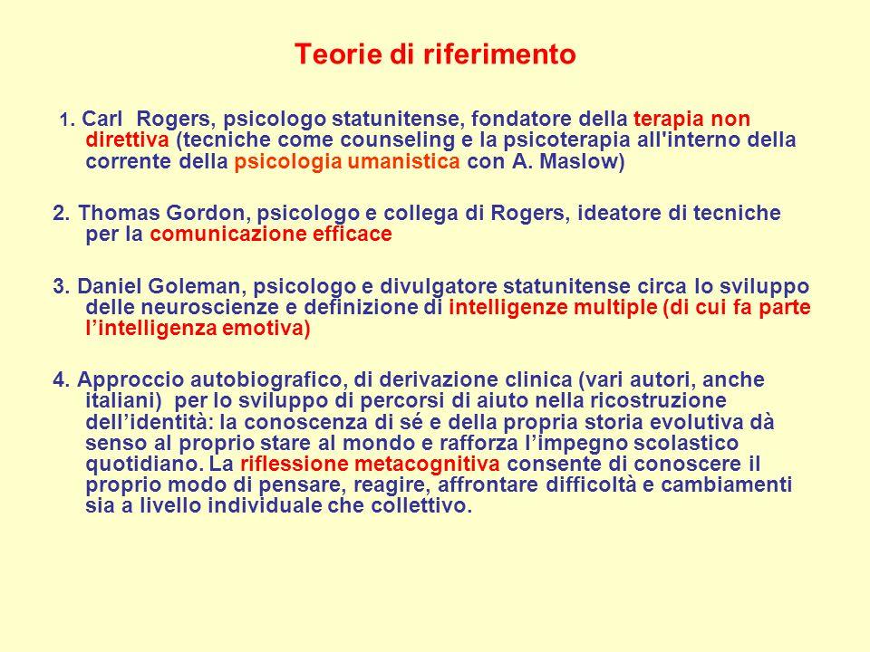 Teorie di riferimento 1. Carl Rogers, psicologo statunitense, fondatore della terapia non direttiva (tecniche come counseling e la psicoterapia all'in
