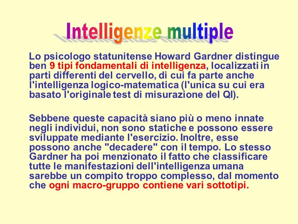 Lo psicologo statunitense Howard Gardner distingue ben 9 tipi fondamentali di intelligenza, localizzati in parti differenti del cervello, di cui fa pa