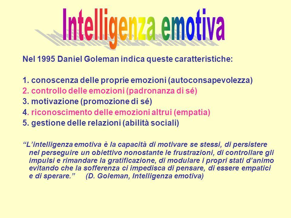 Nel 1995 Daniel Goleman indica queste caratteristiche: 1. conoscenza delle proprie emozioni (autoconsapevolezza) 2. controllo delle emozioni (padronan