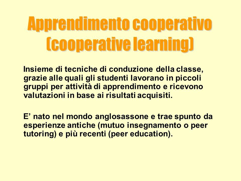 Insieme di tecniche di conduzione della classe, grazie alle quali gli studenti lavorano in piccoli gruppi per attività di apprendimento e ricevono val