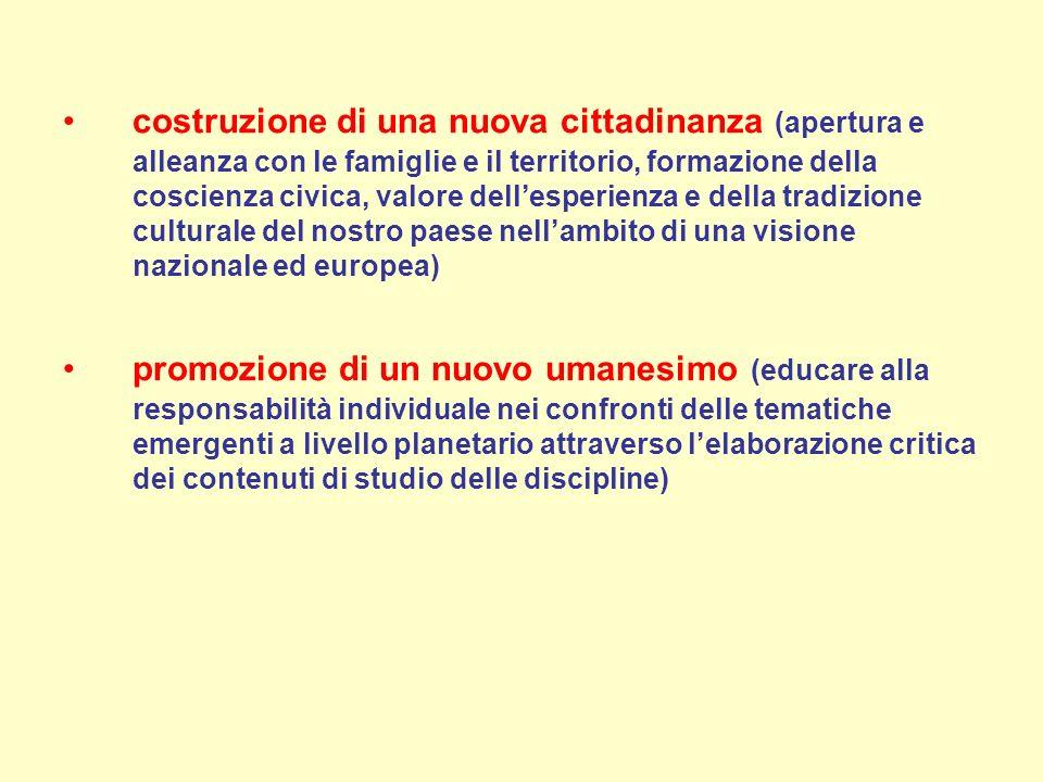 costruzione di una nuova cittadinanza (apertura e alleanza con le famiglie e il territorio, formazione della coscienza civica, valore dellesperienza e