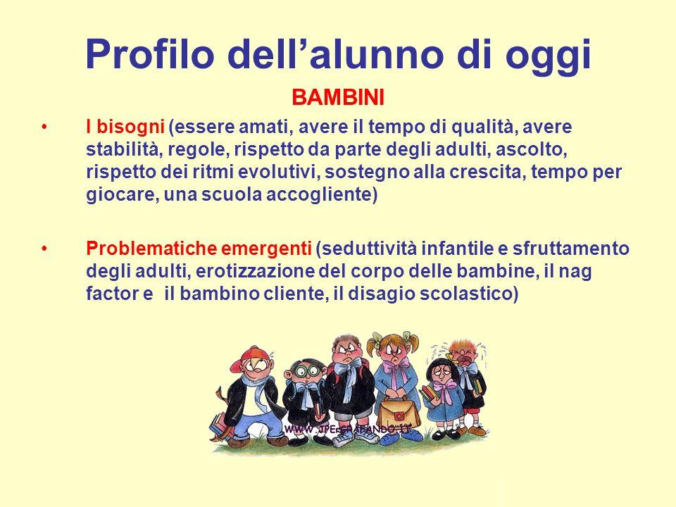 Profilo dellalunno di oggi BAMBINI I bisogni (essere amati, avere il tempo di qualità, avere stabilità, regole, rispetto da parte degli adulti, ascolt