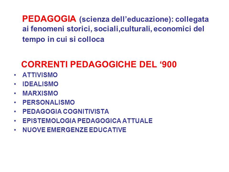 PEDAGOGIA (scienza delleducazione): collegata ai fenomeni storici, sociali,culturali, economici del tempo in cui si colloca CORRENTI PEDAGOGICHE DEL 9