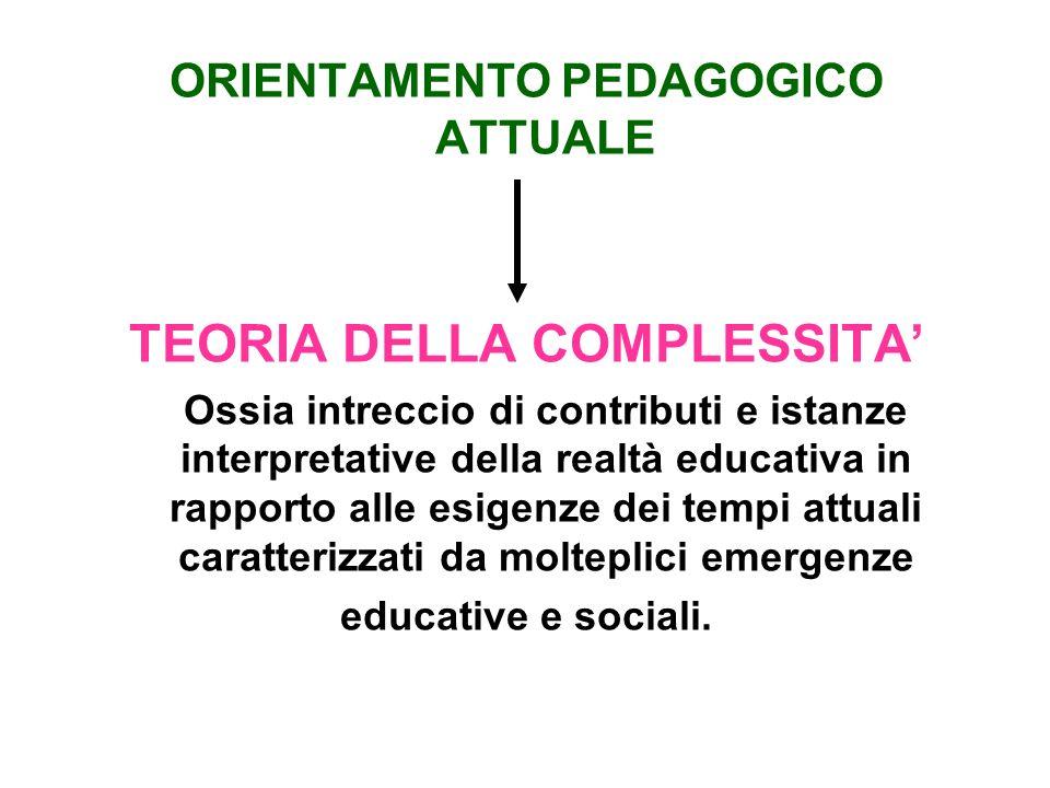 ORIENTAMENTO PEDAGOGICO ATTUALE TEORIA DELLA COMPLESSITA Ossia intreccio di contributi e istanze interpretative della realtà educativa in rapporto all