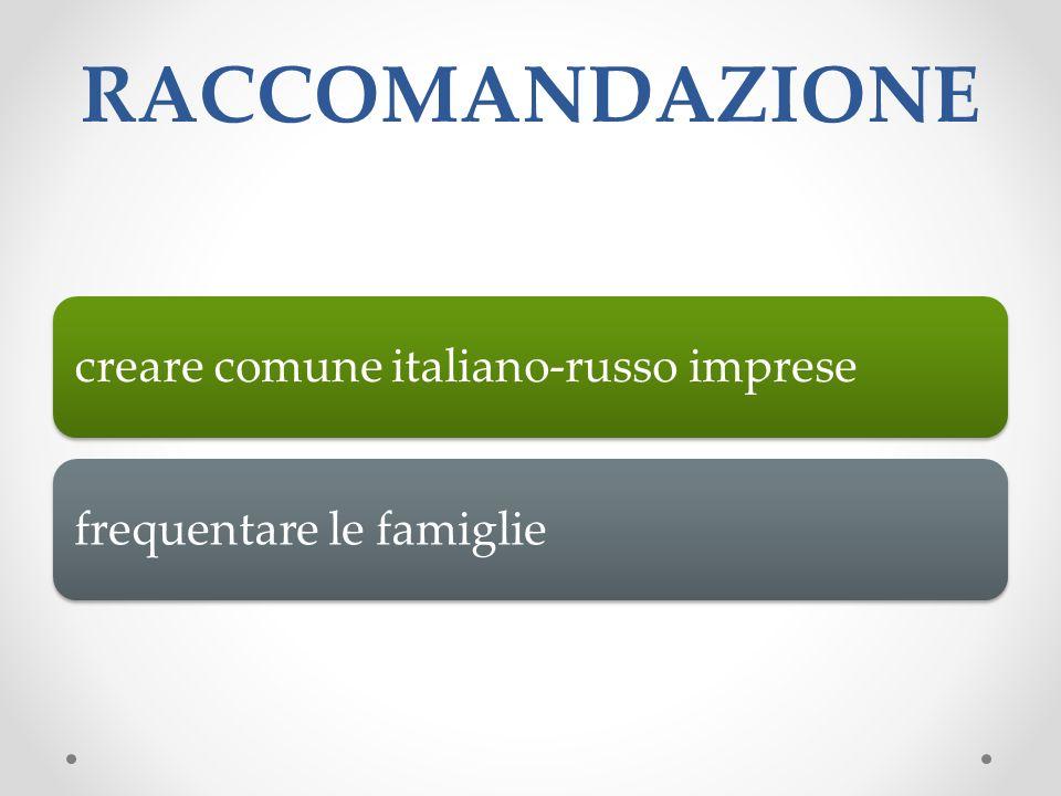 RACCOMANDAZIONE creare comune italiano-russo impresefrequentare le famiglie