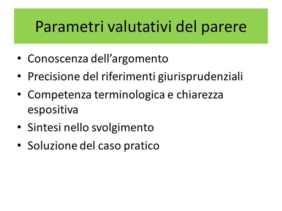 Parametri valutativi del parere Conoscenza dellargomento Precisione del riferimenti giurisprudenziali Competenza terminologica e chiarezza espositiva Sintesi nello svolgimento Soluzione del caso pratico