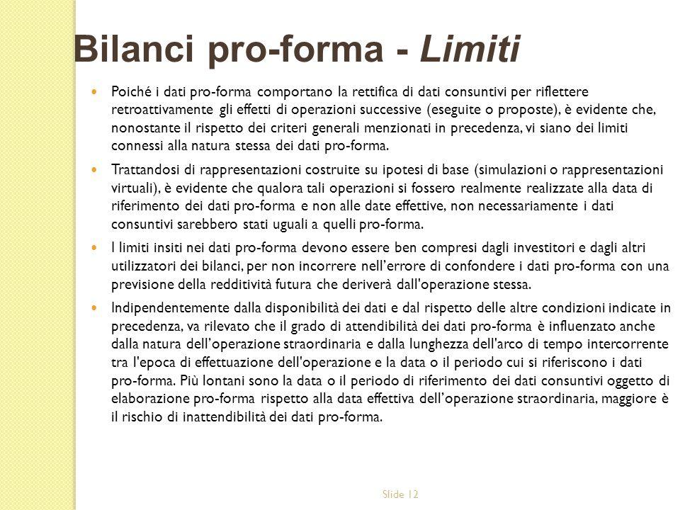 Slide 12 Poiché i dati pro-forma comportano la rettifica di dati consuntivi per riflettere retroattivamente gli effetti di operazioni successive (eseg