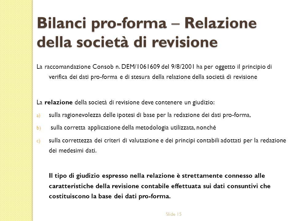 Slide 15 Bilanci pro-forma – Relazione della società di revisione La raccomandazione Consob n. DEM/1061609 del 9/8/2001 ha per oggetto il principio di