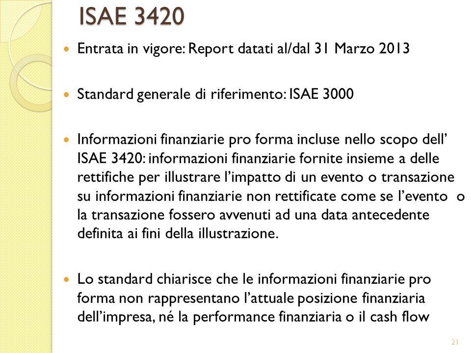 ISAE 3420 Entrata in vigore: Report datati al/dal 31 Marzo 2013 Standard generale di riferimento: ISAE 3000 Informazioni finanziarie pro forma incluse