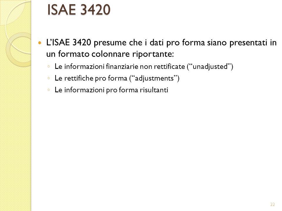 ISAE 3420 LISAE 3420 presume che i dati pro forma siano presentati in un formato colonnare riportante: Le informazioni finanziarie non rettificate (un