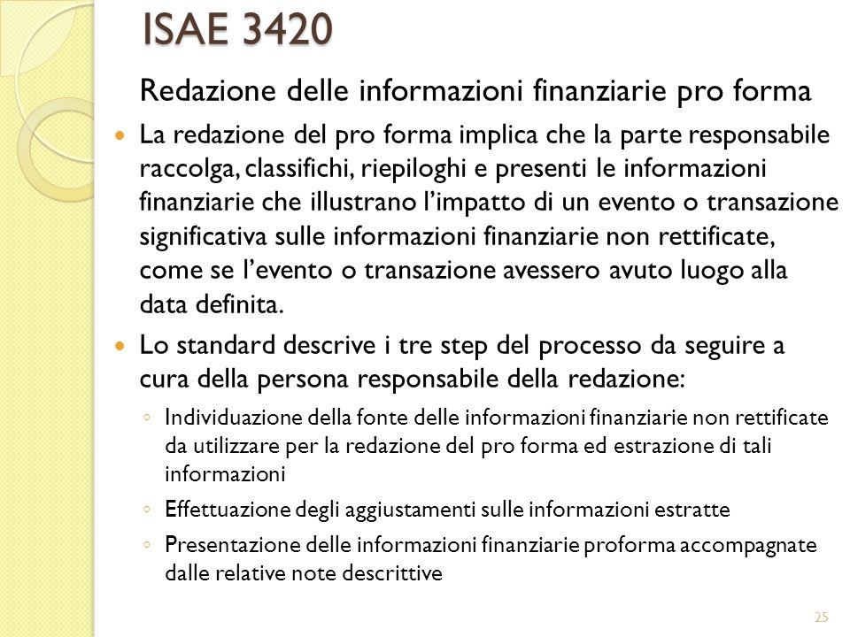 ISAE 3420 Redazione delle informazioni finanziarie pro forma La redazione del pro forma implica che la parte responsabile raccolga, classifichi, riepi