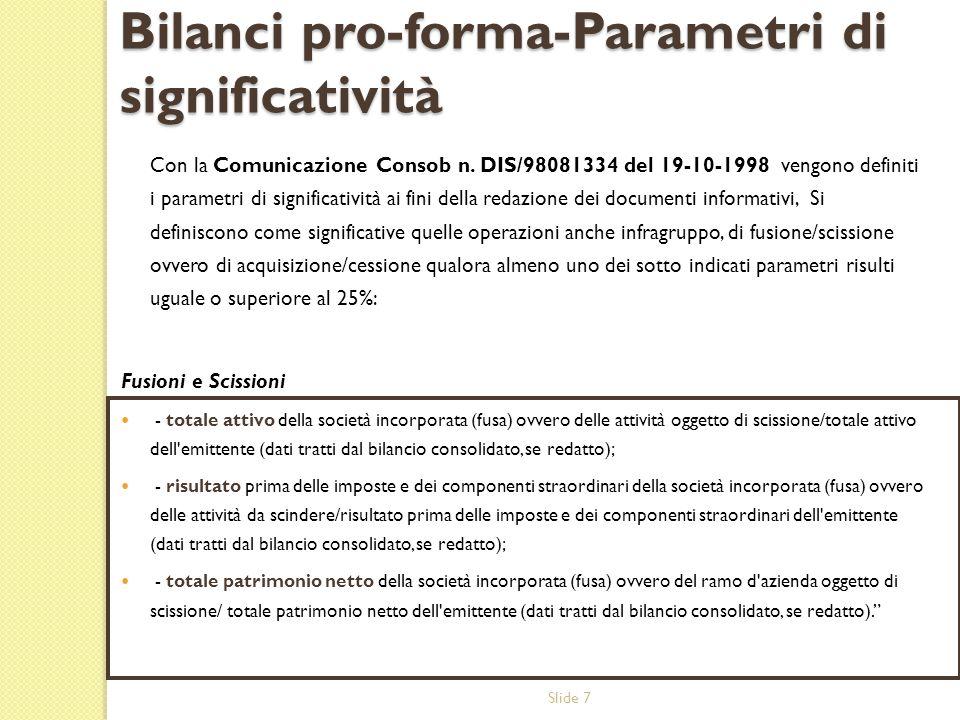 Slide 7 Bilanci pro-forma-Parametri di significatività Con la Comunicazione Consob n. DIS/98081334 del 19-10-1998 vengono definiti i parametri di sign