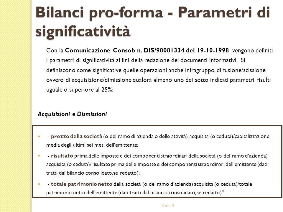 Slide 9 Bilanci pro-forma - Parametri di significatività Con la Comunicazione Consob n. DIS/98081334 del 19-10-1998 vengono definiti i parametri di si