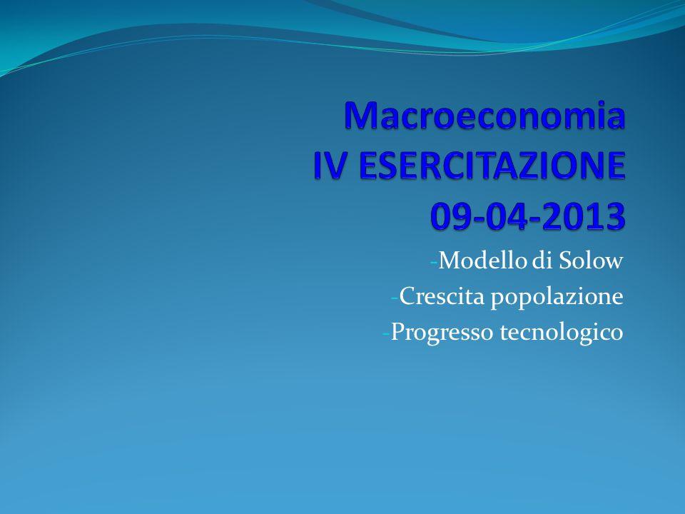 - Modello di Solow - Crescita popolazione - Progresso tecnologico
