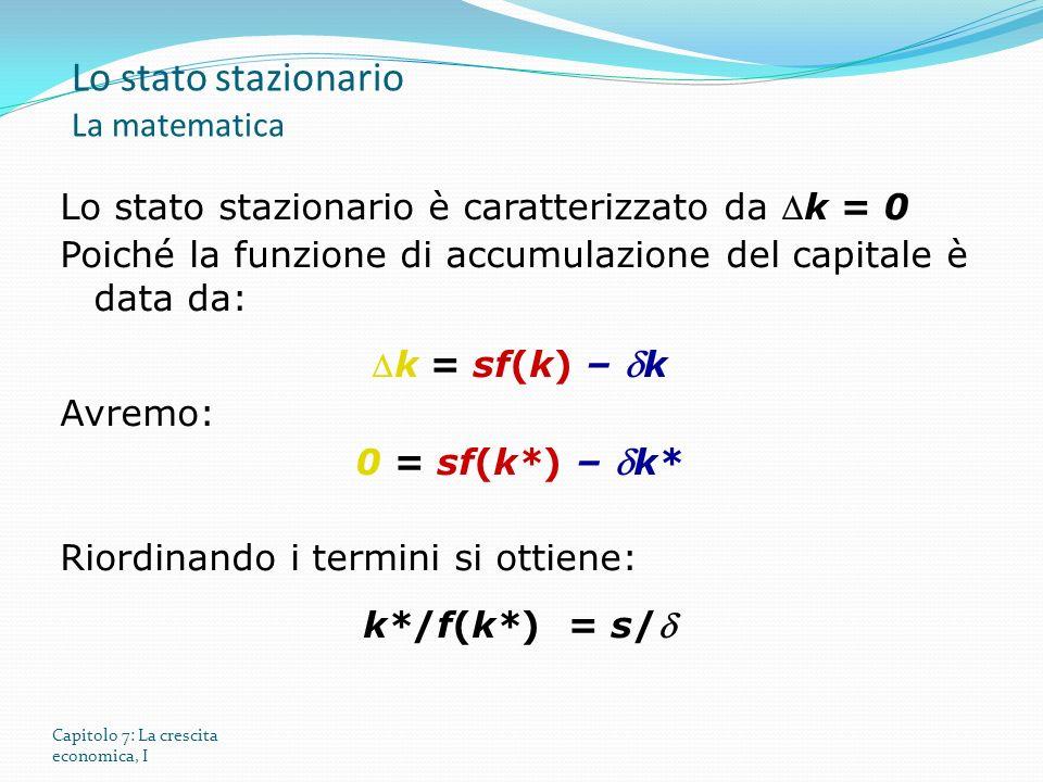 Capitolo 7: La crescita economica, I Lo stato stazionario è caratterizzato da k = 0 Poiché la funzione di accumulazione del capitale è data da: k = sf(k) – k Avremo: 0 = sf(k*) – k* Riordinando i termini si ottiene: k*/f(k*) = s/ Lo stato stazionario La matematica