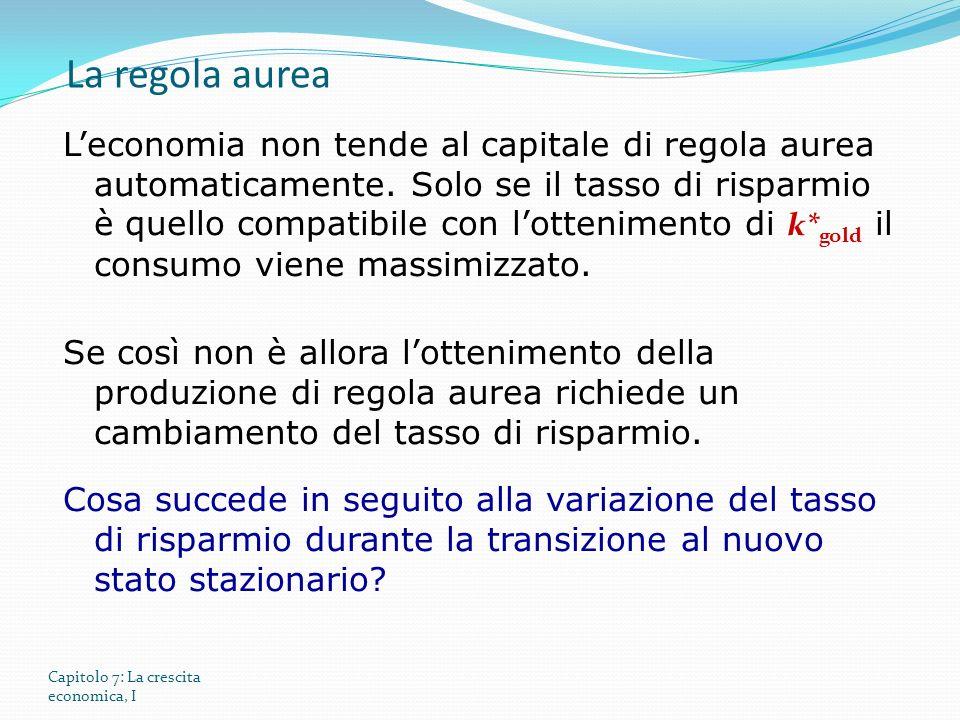Capitolo 7: La crescita economica, I Leconomia non tende al capitale di regola aurea automaticamente.
