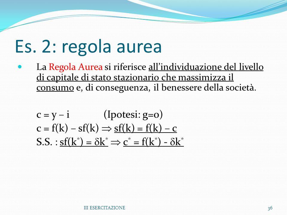 III ESERCITAZIONE36 Es. 2: regola aurea La Regola Aurea si riferisce allindividuazione del livello di capitale di stato stazionario che massimizza il