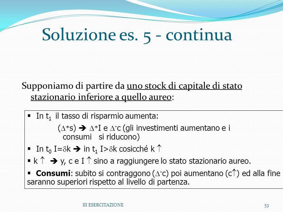 III ESERCITAZIONE53 Soluzione es. 5 - continua Supponiamo di partire da uno stock di capitale di stato stazionario inferiore a quello aureo: In t 1 il