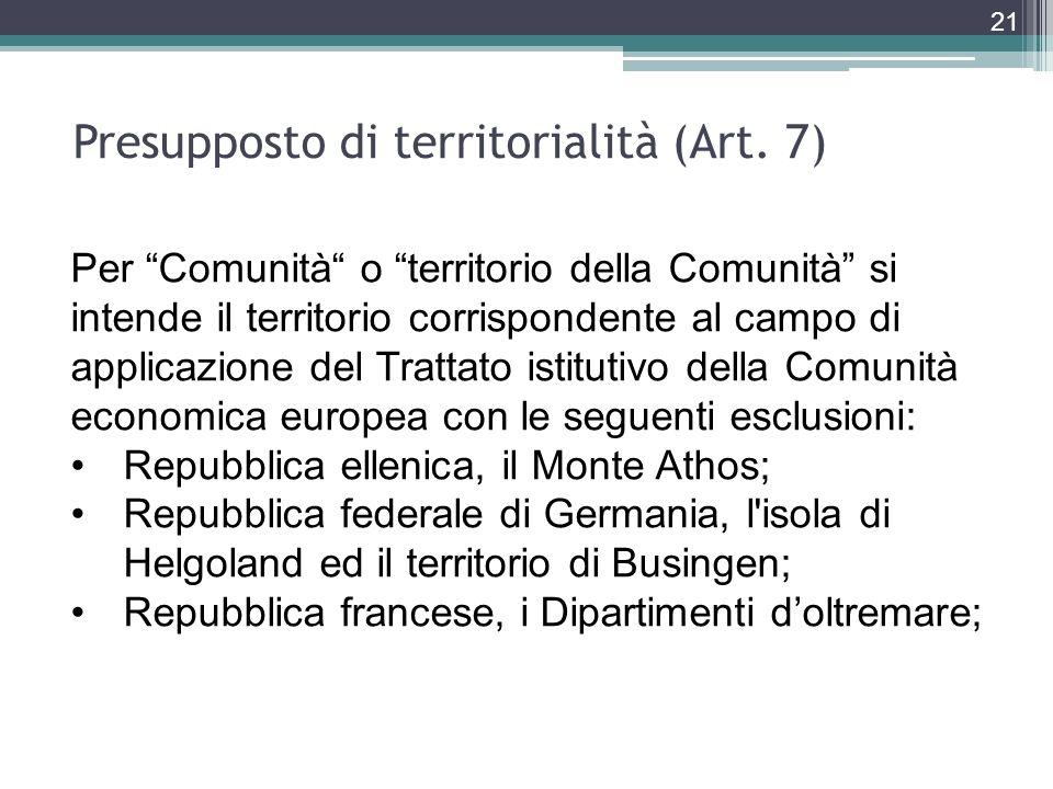 21 Per Comunità o territorio della Comunità si intende il territorio corrispondente al campo di applicazione del Trattato istitutivo della Comunità ec
