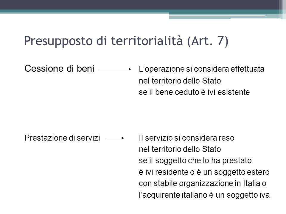 Presupposto di territorialità (Art. 7) Cessione di beni Loperazione si considera effettuata nel territorio dello Stato se il bene ceduto è ivi esisten