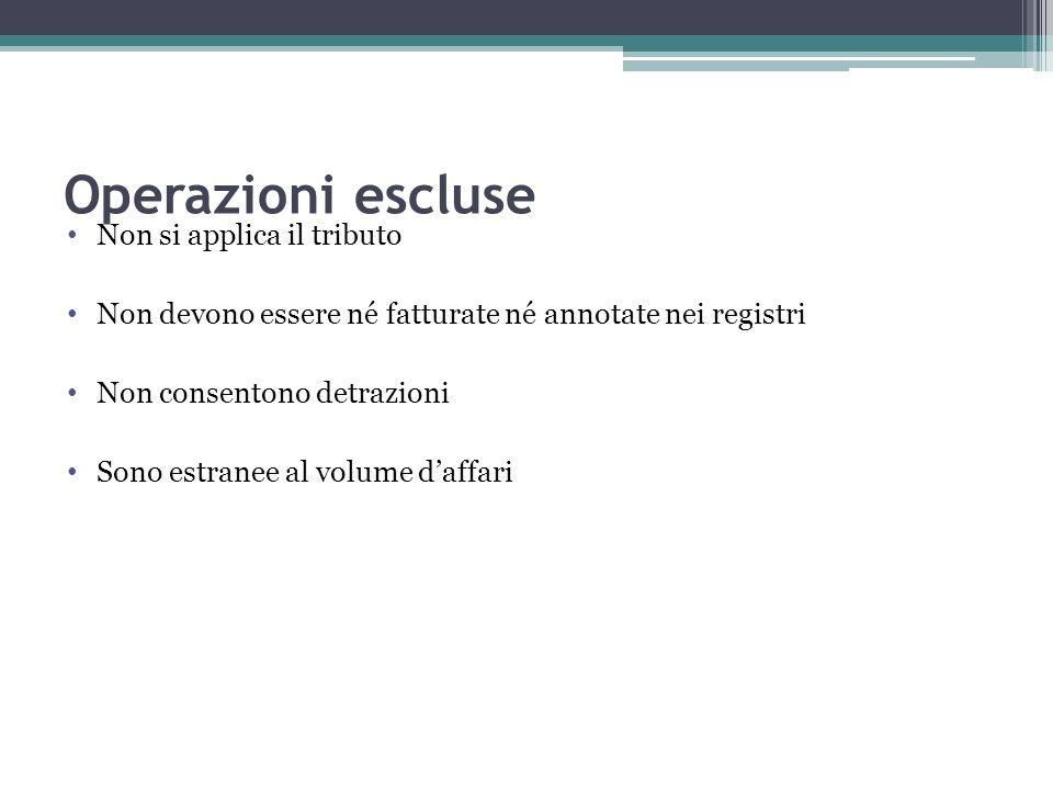 Operazioni escluse Non si applica il tributo Non devono essere né fatturate né annotate nei registri Non consentono detrazioni Sono estranee al volume