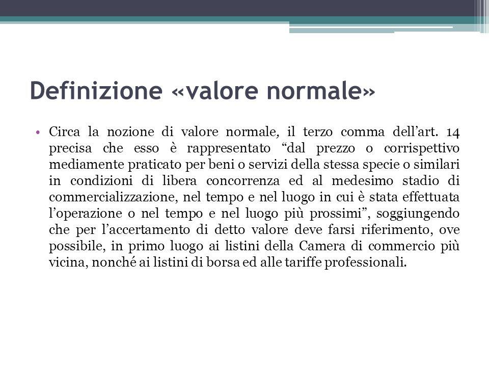 Definizione «valore normale» Circa la nozione di valore normale, il terzo comma dellart. 14 precisa che esso è rappresentato dal prezzo o corrispettiv