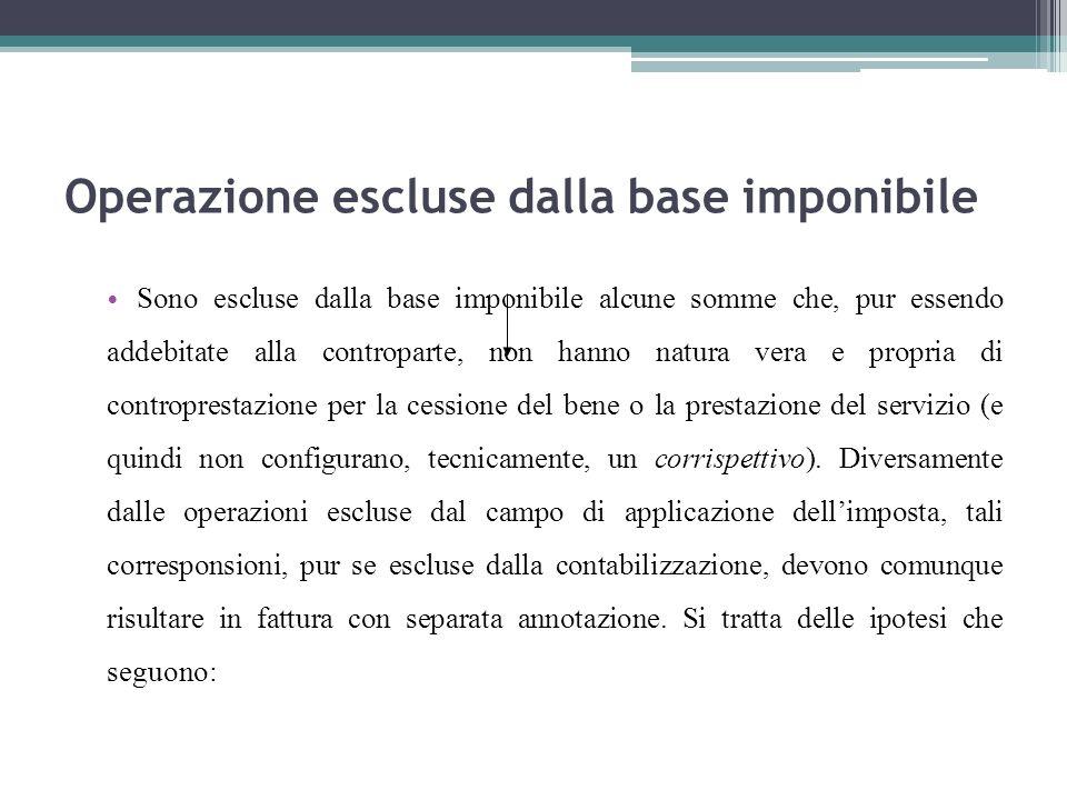 Operazione escluse dalla base imponibile Sono escluse dalla base imponibile alcune somme che, pur essendo addebitate alla controparte, non hanno natur
