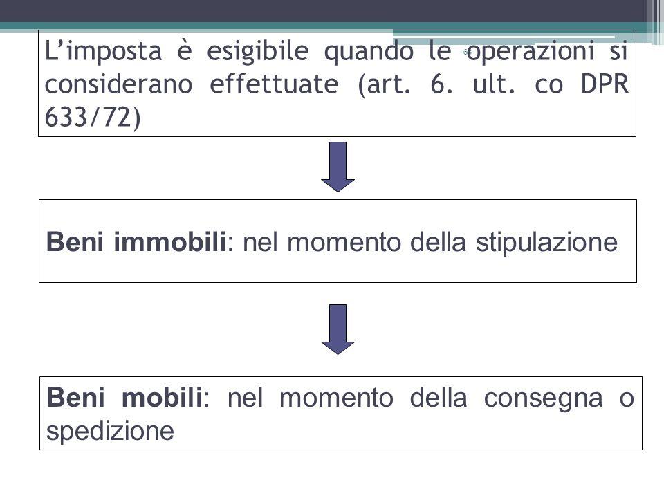 63 Limposta è esigibile quando le operazioni si considerano effettuate (art. 6. ult. co DPR 633/72) Beni immobili: nel momento della stipulazione Beni