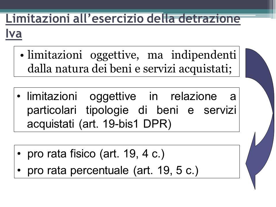 64 Limitazioni allesercizio della detrazione Iva limitazioni oggettive, ma indipendenti dalla natura dei beni e servizi acquistati; limitazioni oggett