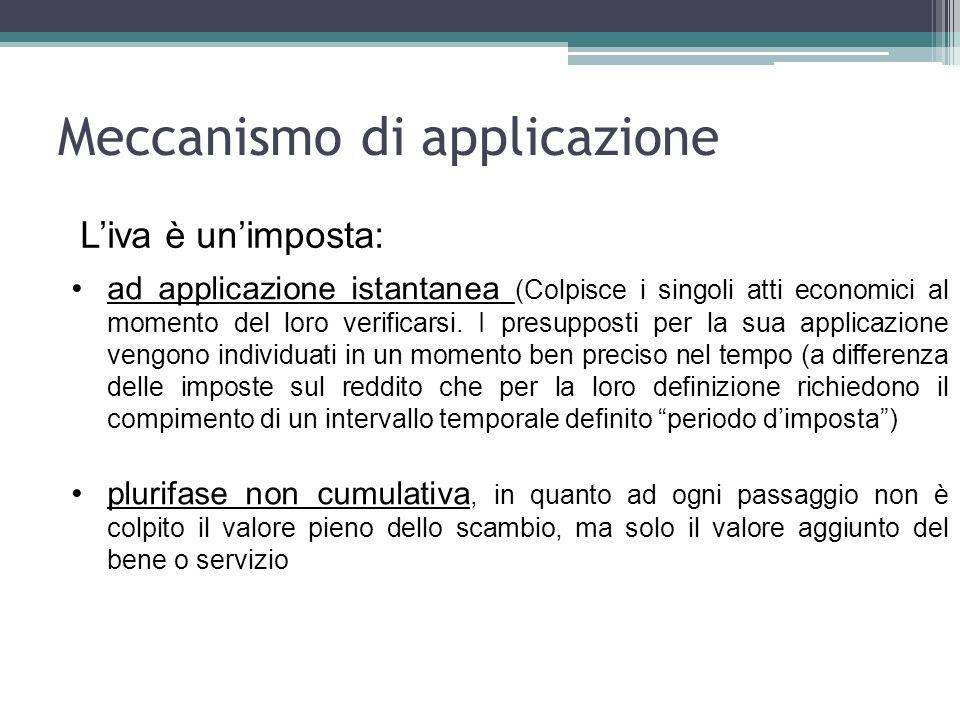 Meccanismo di applicazione Liva è unimposta: ad applicazione istantanea (Colpisce i singoli atti economici al momento del loro verificarsi. I presuppo