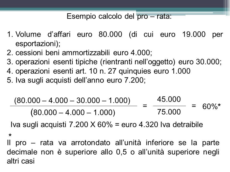 83 Esempio calcolo del pro – rata: 1.Volume daffari euro 80.000 (di cui euro 19.000 per esportazioni); 2.cessioni beni ammortizzabili euro 4.000; 3.op