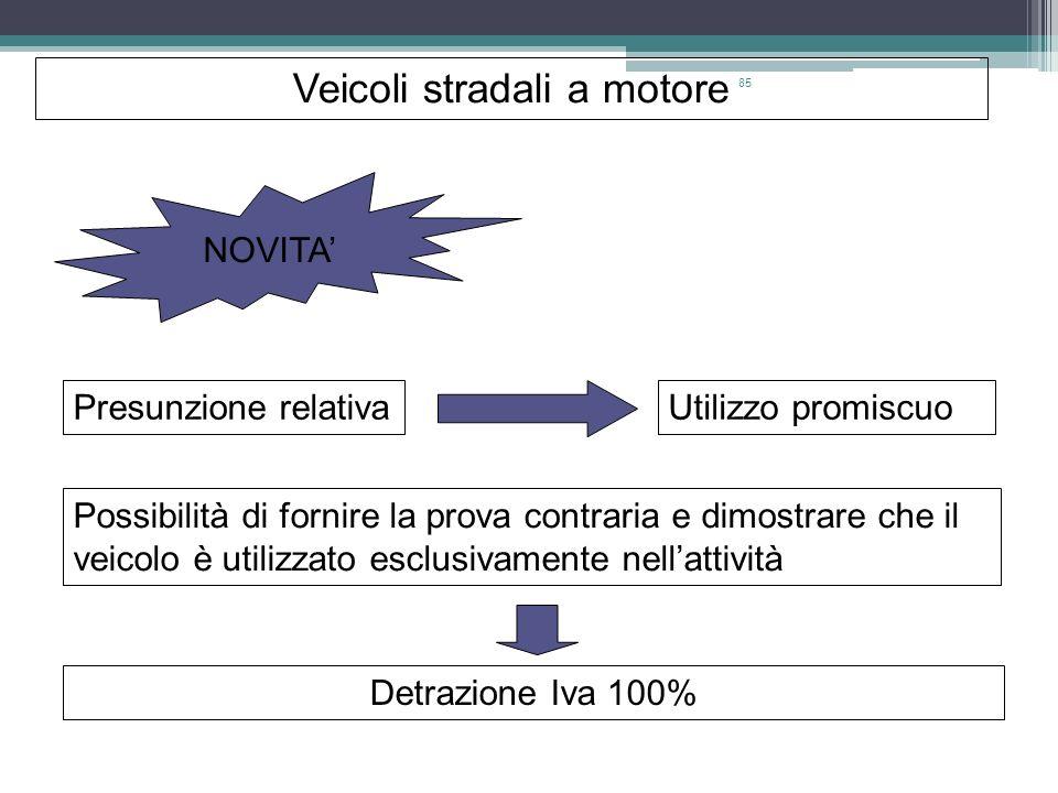 85 Veicoli stradali a motore NOVITA Presunzione relativaUtilizzo promiscuo Possibilità di fornire la prova contraria e dimostrare che il veicolo è uti