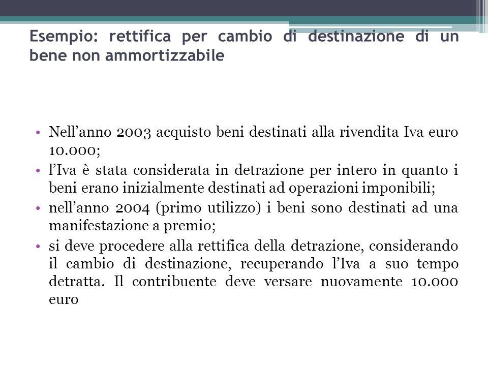 95 Esempio: rettifica per cambio di destinazione di un bene non ammortizzabile Nellanno 2003 acquisto beni destinati alla rivendita Iva euro 10.000; l
