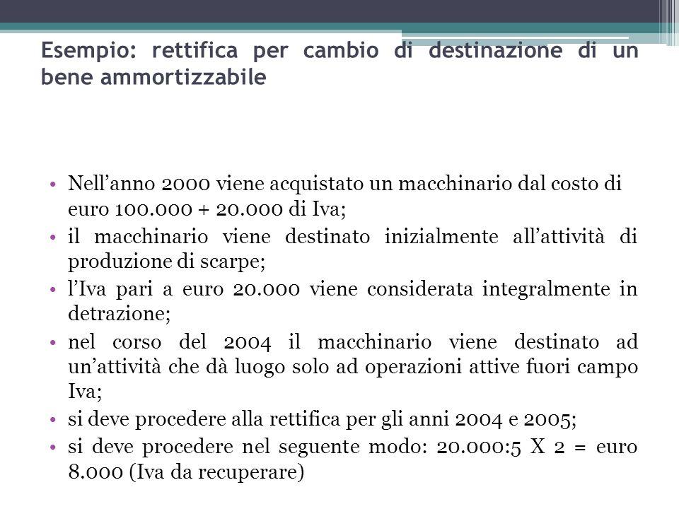 97 Nellanno 2000 viene acquistato un macchinario dal costo di euro 100.000 + 20.000 di Iva; il macchinario viene destinato inizialmente allattività di