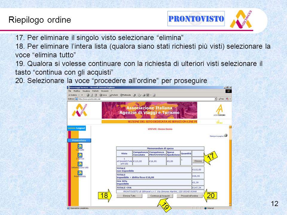Riepilogo ordine 17. Per eliminare il singolo visto selezionare elimina 18.