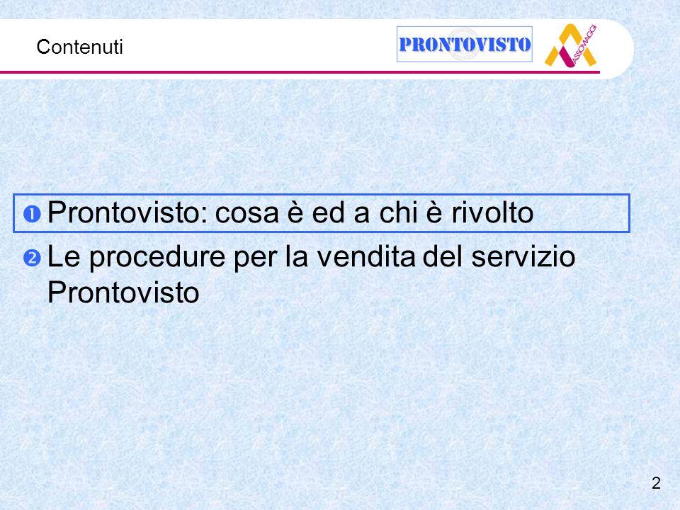 Contenuti Prontovisto: cosa è ed a chi è rivolto Le procedure per la vendita del servizio Prontovisto 2