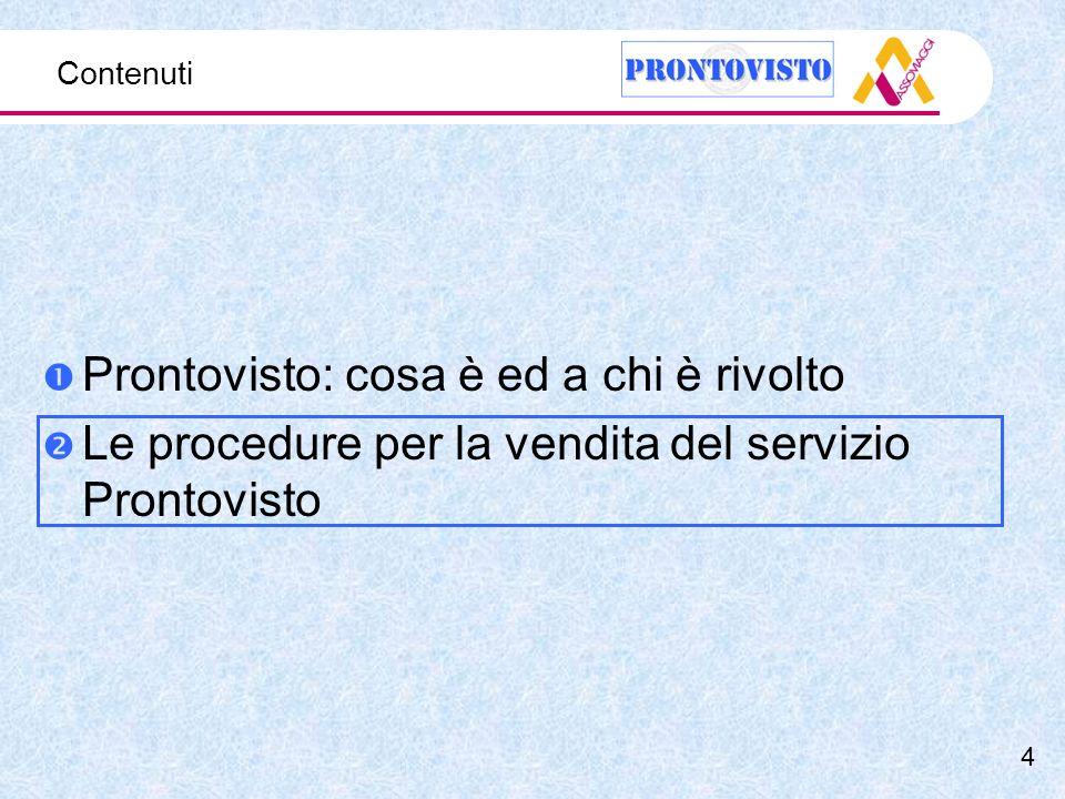Contenuti Prontovisto: cosa è ed a chi è rivolto Le procedure per la vendita del servizio Prontovisto 4