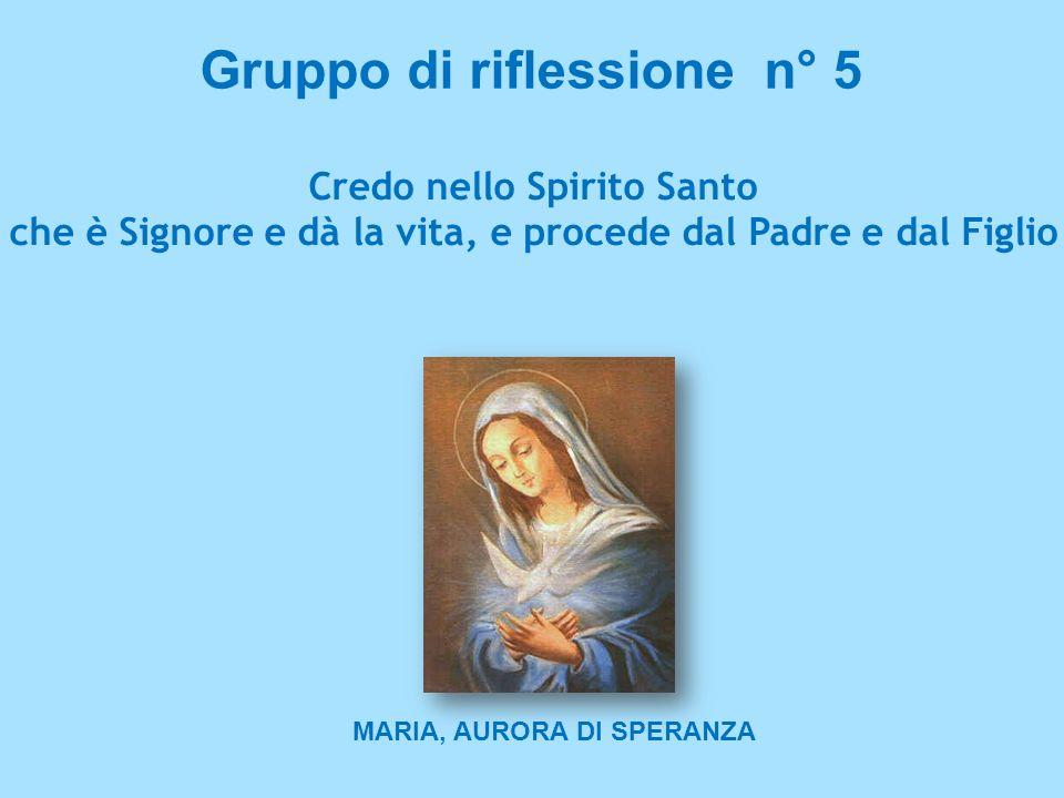 Gruppo di riflessione n° 5 Credo nello Spirito Santo che è Signore e dà la vita, e procede dal Padre e dal Figlio MARIA, AURORA DI SPERANZA