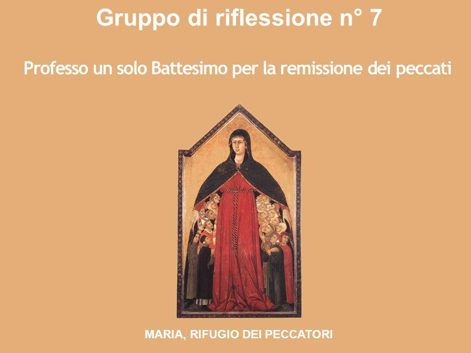 Gruppo di riflessione n° 7 Professo un solo Battesimo per la remissione dei peccati MARIA, RIFUGIO DEI PECCATORI