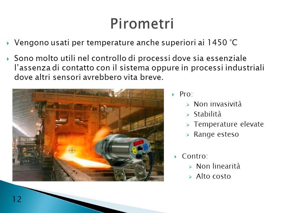 12 Vengono usati per temperature anche superiori ai 1450 °C Sono molto utili nel controllo di processi dove sia essenziale lassenza di contatto con il