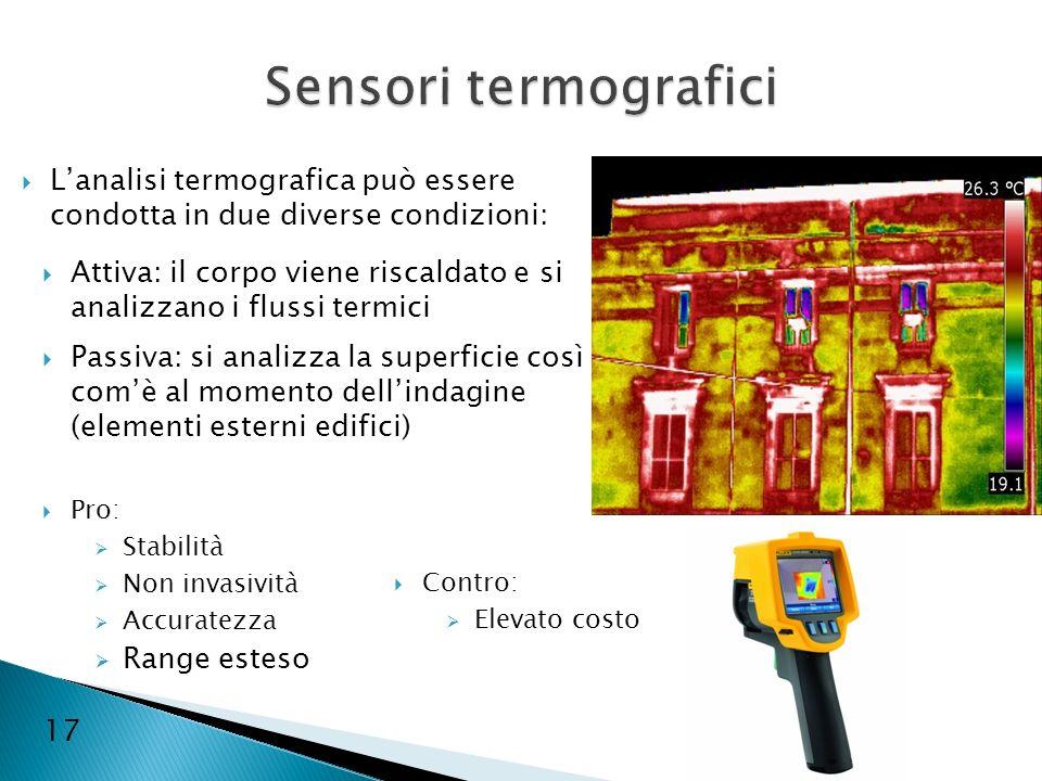 17 Lanalisi termografica può essere condotta in due diverse condizioni: Attiva: il corpo viene riscaldato e si analizzano i flussi termici Passiva: si
