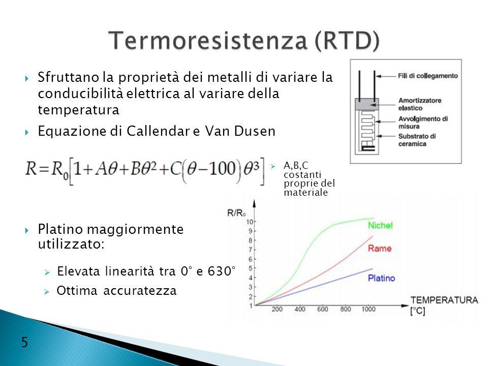 Sfruttano la proprietà dei metalli di variare la conducibilità elettrica al variare della temperatura Equazione di Callendar e Van Dusen 5 A,B,C costa
