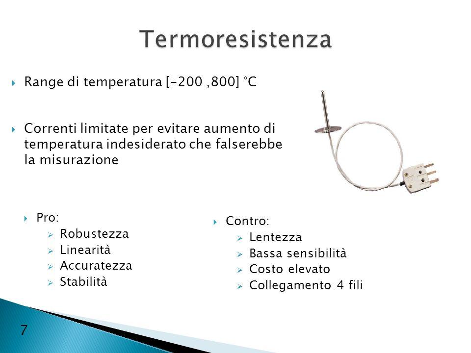 Pro: Robustezza Linearità Accuratezza Stabilità Contro: Lentezza Bassa sensibilità Costo elevato Collegamento 4 fili Range di temperatura [-200,800] °