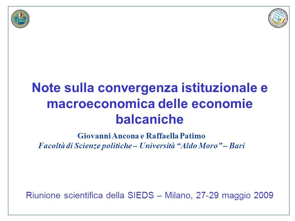 Note sulla convergenza istituzionale e macroeconomica delle economie balcaniche Riunione scientifica della SIEDS – Milano, 27-29 maggio 2009 Giovanni