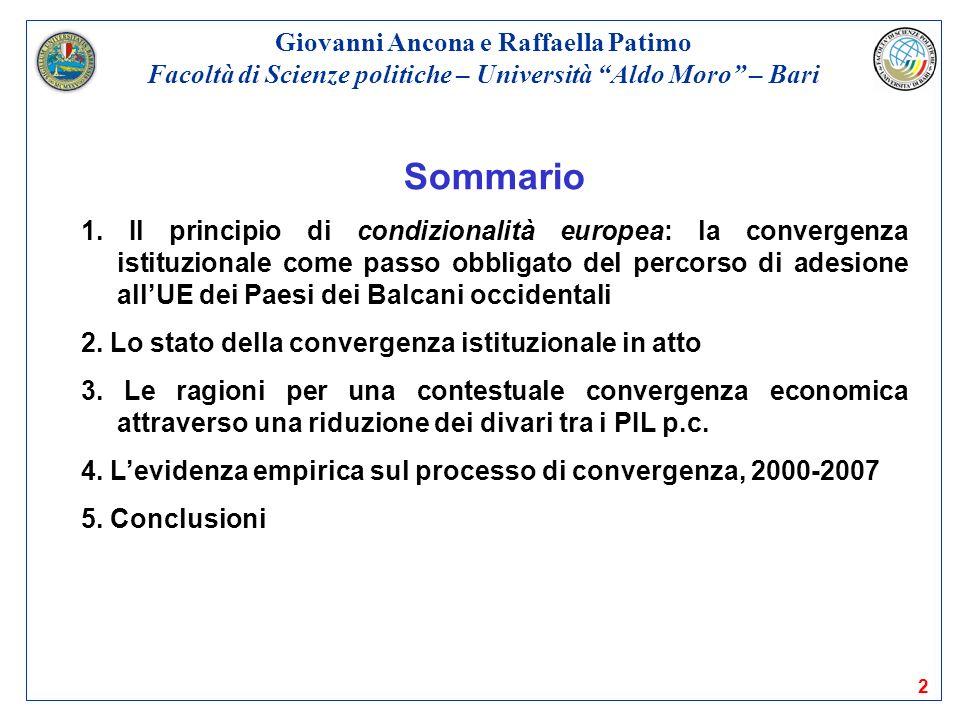 2 Sommario 1. Il principio di condizionalità europea: la convergenza istituzionale come passo obbligato del percorso di adesione allUE dei Paesi dei B