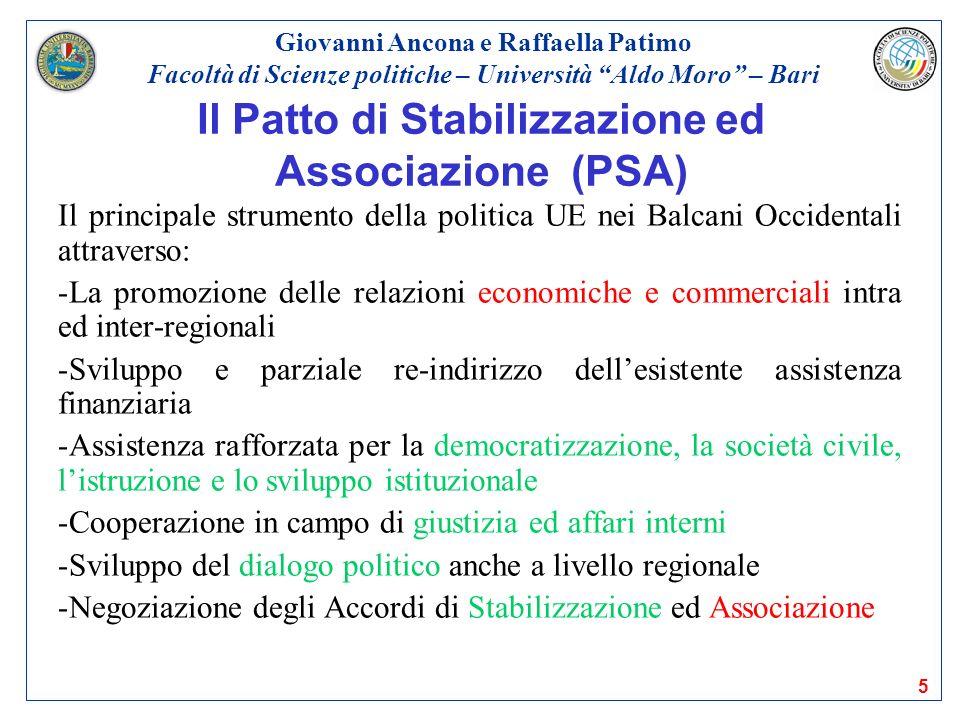 5 Il Patto di Stabilizzazione ed Associazione (PSA) Il principale strumento della politica UE nei Balcani Occidentali attraverso: -La promozione delle