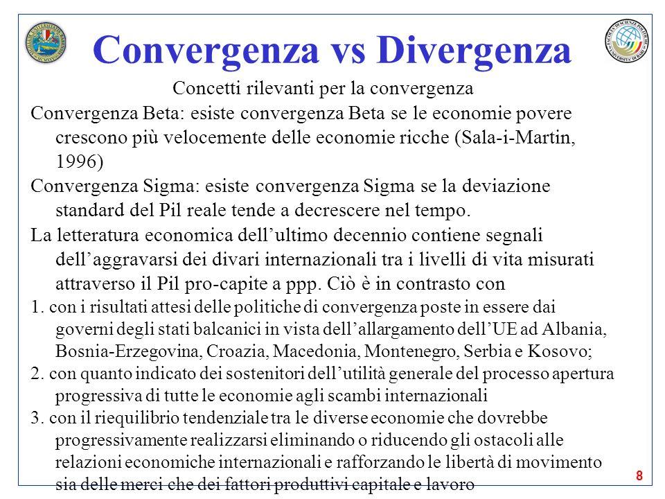 8 Convergenza vs Divergenza Concetti rilevanti per la convergenza Convergenza Beta: esiste convergenza Beta se le economie povere crescono più velocem